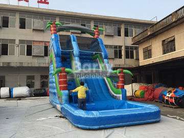 Summer Palm Tree Inflatable Outdoor Water Slide With Printing
